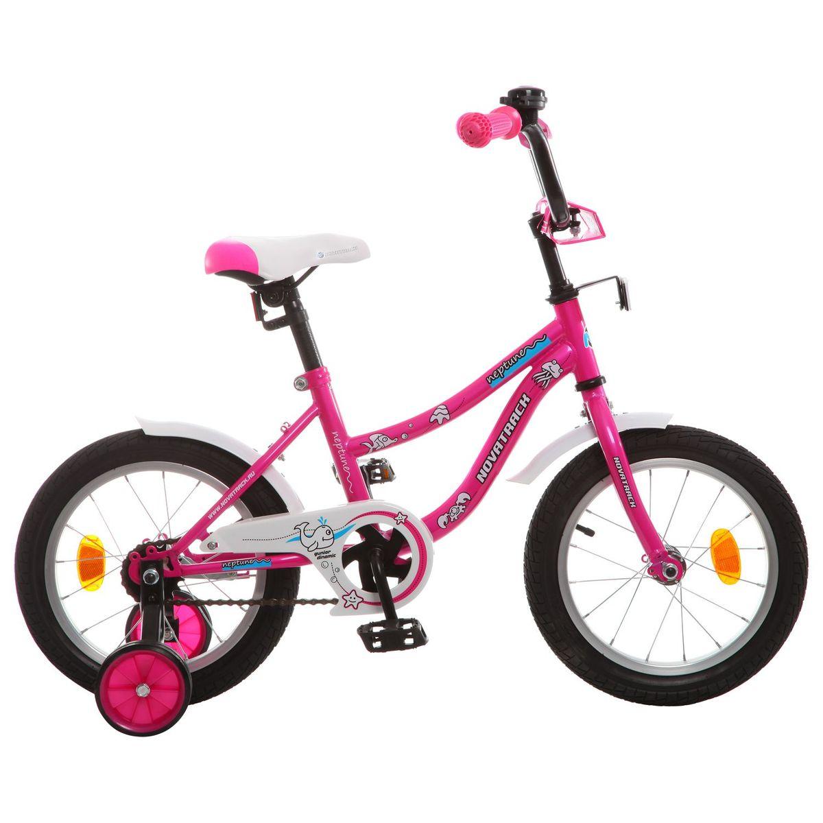 Велосипед детский Novatrack Neptune 14, цвет: розовый143NEPTUN.PN5Если вам нужен качественный, надежный и оптимальный по цене велосипед для ребенка, то это, конечно - Novatrack Neptun 14'', который рассчитан на детей 3-5 лет. Достаточно только взглянуть на эту модель, чтобы понять, насколько удобно и безопасно будет чувствовать себя ваш сын или дочка. Да-да, этот велосипед прекрасно подойдет и мальчику, и девочке. Это детское двухколесное транспортное средство прекрасно управляется даже самыми неопытными велосипедистами. В частности, модель снабжена ограничителем поворота руля, что не позволит ребенку слишком сильно вывернуть переднее колесо велосипеда и упасть. Установлены дополнительные опции: защита цепи, стильные укороченные крылья, мягкие накладки, которые служат еще и элементом дизайна, громкий звонок и катафоты.