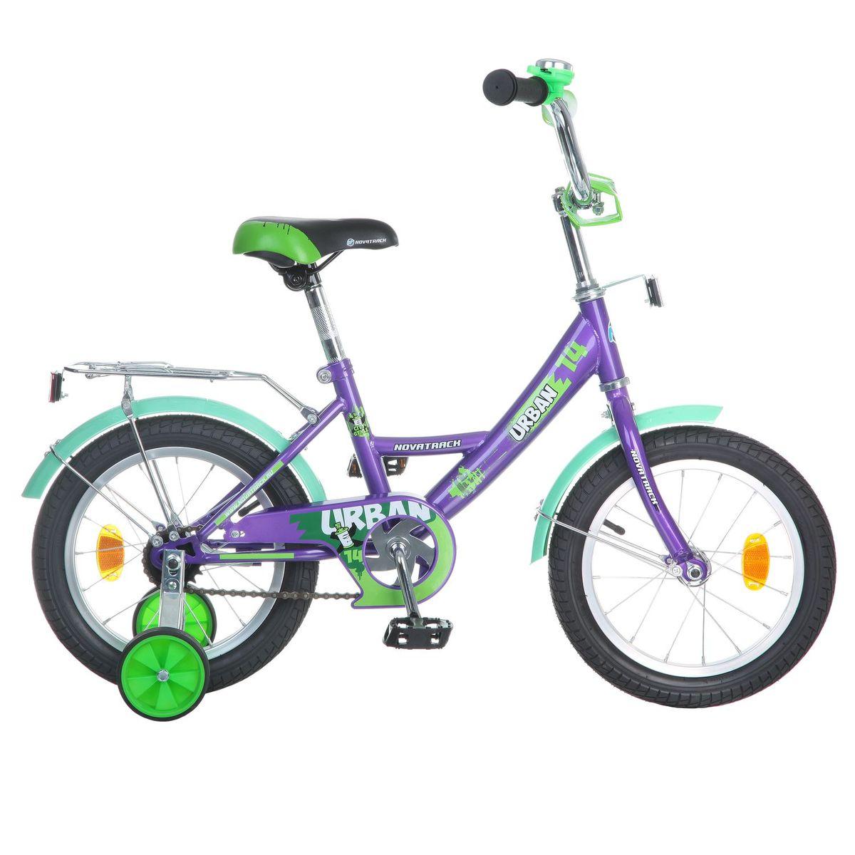 Велосипед детский Novatrack Urban, цвет: фиолетовый, зеленый, 14143URBAN.VL6Велосипед Novatrack Urban c 14-дюймовыми колесами это надежный велосипед для ребят 3-5 лет. Высокое качество сборки гарантирует, что велосипед прослужит долго, даже если ваш ребенок будет гонять на нем ежедневно по несколько часов подряд. Велосипед оснащен защитой цепи, которая не позволит ногам и одежде попасть в мезанизм. Еще одно средство, способствующее безопасному вождению велосипеда в любых дорожных условиях ограничитель поворота руля. который не позволит маленькому велосипедисту слишком сильно повернуть руль и таким образом создать себе все условия для неминуемого падения. Да и учиться ездить с таким приспособлением гораздо удобнее, ведь руль не крутится вокруг своей оси, а значит, и двигаться велосипед будет аккуратно и всегда именно туда, куда нужно. Велосипед оборудован багажником обязательным атрибутом любого детского велосипеда, ведь как же еще перевозить свои игрушки и другие нужные мелочи во время прогулок Для безопасности установлено целых 4 светоотражателя задний, передний и по одному на каждом из основных колес. Колеса закрыты крыльями, которые защитят маленького наездника от грязи и брызг. А ножной тормоз позволит быстро остановиться, в случае необходимости.