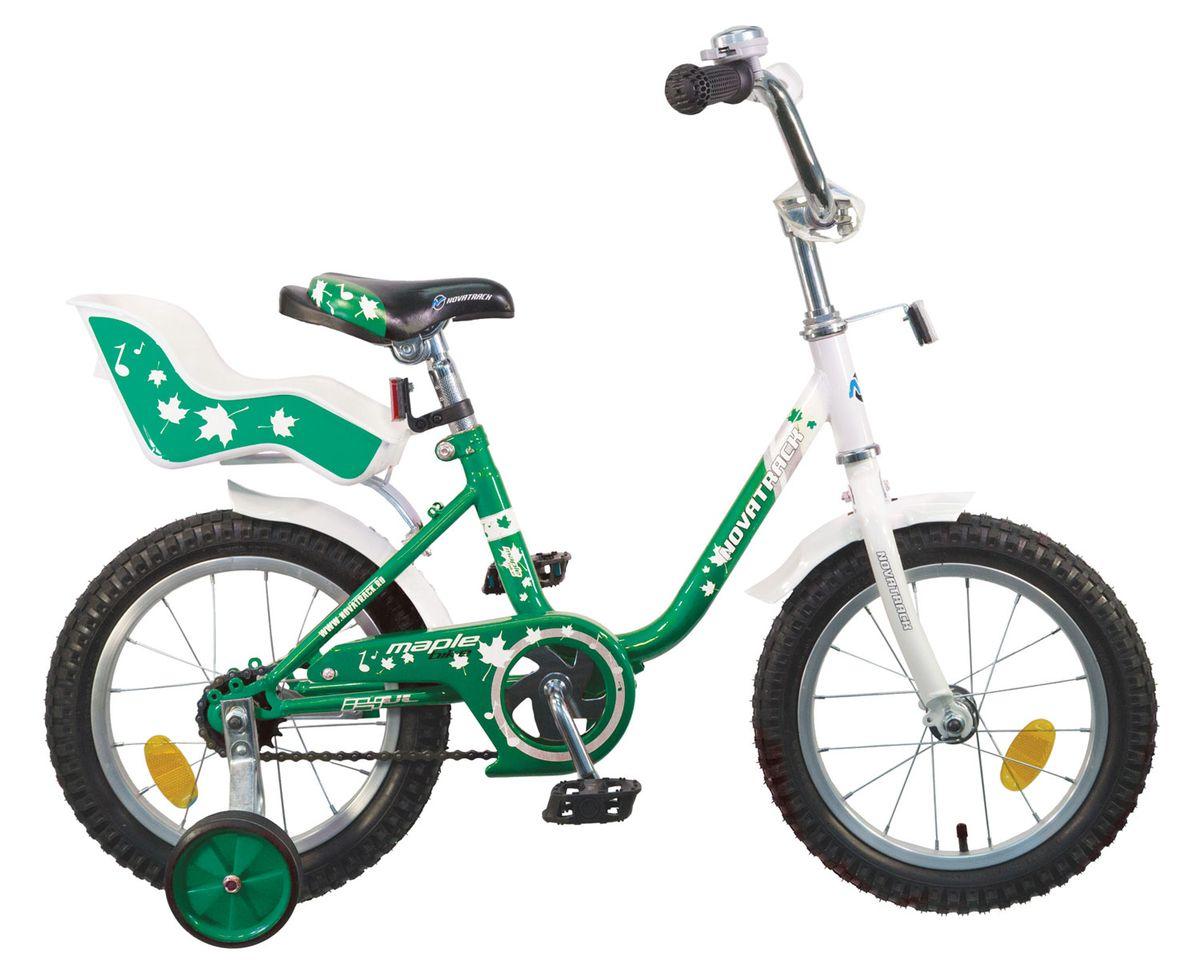Велосипед детский Novatrack Maple, цвет: зеленый, белый, 14144MAPLE.GN5Novatrack Maple - это надежный велосипед для девочек 3-5 лет, на котором очень легко начинать обучение езде на велосипеде и который обязательно станет предметом гордости маленькой леди. Регулируемые сидение и руль легко адаптируются под рост ребенка. Маленькие дополнительные колеса снимаются. Отличительная особенность этого велосипеда - это сидение для куклы, ведь как можно не взять с собой подругу на велопрогулку? Велосипед оснащен ножным тормозом, которым ребенку легко пользоваться, защитой цепи, которая убережет нижнюю часть одежды от попадания в механизм. Для того, чтобы привлечь внимание прохожих, на руль установлен красивый и блестящий звоночек, который оповестит зевак об обгоне.