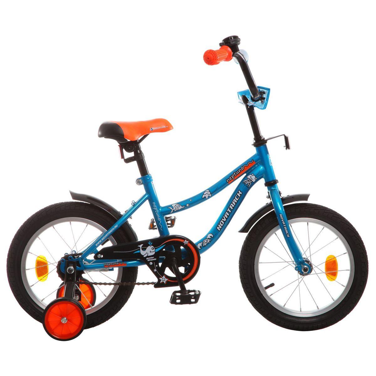 Велосипед детский Novatrack Neptune, цвет: синий, оранжевый, 16163NEPTUN.BL5Novatrack Neptune – это отличный подарок для ребенка 5-7 лет. Эта модель объединяет в себе привлекательный дизайн, легкость, отличную управляемость и универсальность. Ваш ребенок будет просто счастлив, став обладателем такой замечательной техники. Велосипед полностью подготовлен для того, чтобы маленьким велосипедистам было комфортно и интересно учиться самостоятельно кататься. Яркий дизайн, регулируемые сидение и руль с надежной фиксацией, защита цепи, велосипедный звонок, мягкие накладки на руле, катафоты, стильные укороченные крылья - все продумано до мелочей.