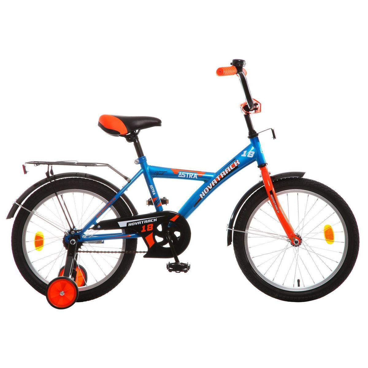 Велосипед детский Novatrack Astra 18, цвет: синий143URBAN.VL6Хотите, чтобы ваш ребенок играя укреплял здоровье? Тогда ему нужен удобный и надежный велосипед Novatrack Astra 18'', рассчитанный на ребят 6-9 лет. Одного взгляда ребенка хватит, чтобы раз и навсегда влюбиться в свой новенький двухколесный транспорт. Дополнительную устойчивость железному «коню» обеспечивают два маленьких съемных колеса в цвет велосипеда. Astra собрана на базе рамы с универсальной геометрией, которая позволяет легко взобраться или слезть с велосипеда, при этом он имеет такой вес, что ребенок сам легко справляется со своим транспортным средством. Еще один элемент безопасности – это защита цепи, которая оберегает одежду и ноги ребенка от попадания в механизм. Стильные крылья защитят от грязи и брызг, а на багажнике ребенок сможет перевозить массу полезных в дороге вещей. Данная модель маневренна и легко управляется, поэтому ребенку будет несложно и интересно учиться езде.