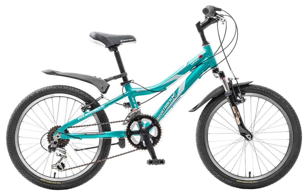 Велосипед детский Novatrack Action 20, цвет: зеленый20AH12V.ACTION.GN5Велосипед Novatrack Action 20'' - станет предметом гордости начинающего велогонщика 7-10 лет. Эта модель предназначена для активного катания не только во дворе, но и в парке, на даче, в общем везде где только может проехать двухколесное транспортное средство. Преодолеть подъем или быстро разогнаться на ровной поверхности поможет 12-скоростная система, управлению которой юный велосипедист обучится очень быстро. Все узлы и детали выполнены из сверхлегкого и суперпрочного алюминия, а крылья – из инновационного пластика. Небольшой вес велосипеда дает ребенку возможность самостоятельно выносить свое двухколесное транспортное средство на улицу. К тому же, модель удобно хранить в доме вне сезона: она займет совсем мало места в кладовой, шкафу-купе или просто в коридоре.