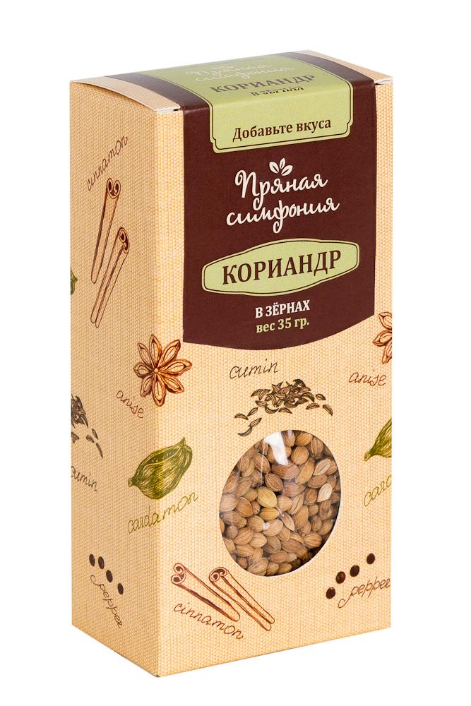 Пряная Симфония Кориандр в зернах, 35 гМ4566Зерна кориандра - это универсальная специя. Они имеют сладковатый вкус и специфический запах зелени из-за присутствия в нем эфирного масла. Их активно применяют в качестве ароматизации при приготовлении мясных и овощных блюд.