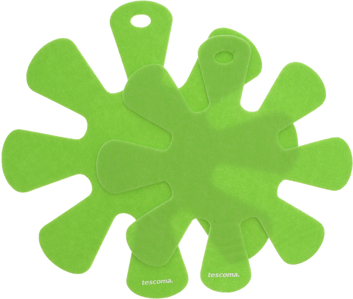 Протектор для хранения посуды Tescoma Presto, цвет: салатовый, 2 шт. 420884422214Протекторы для хранения посуды Tescoma Presto выполнены из прочной синтетической ткани. Они используются для защиты посуды с антипригарным покрытием при хранении на кухне. Подходят для посуды диаметром от 24 до 32 см и от 18 до 24 см. Нельзя использовать для горячей или неочищенной посуды.Не использовать в качестве подставки под горячее.Не использовать в посудомоечной машине.Рекомендуется обычная стирка при 40°С.Диаметр большого протектора: 38 см.Диаметр малого протектора: 32,5 см.