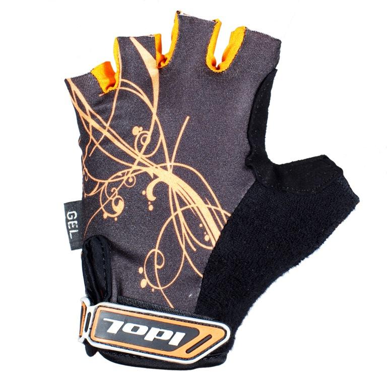 Перчатки велосипедные женские Idol, цвет: черный, оранжевый. 1573. Размер MZ90 blackЖенские велосипедные перчатки без пальцев Idol предназначены для тех, кто занимается велоспортом, велотуризмом или просто катается на велосипеде. Рабочая поверхность велоперчаток выполнена из высококачественной синтетической кожи серого цвета, а верхняя часть - из лайкры, хорошо отводящей влагу и, благодаря своей упругости, плотно сидящей на руке. На запястье перчатка фиксируется прочной липучкой. Высокое качество, технически совершенные материалы, оригинальный стильный дизайн, функциональность и долговечность выделяют велоперчатки Idol среди прочих.