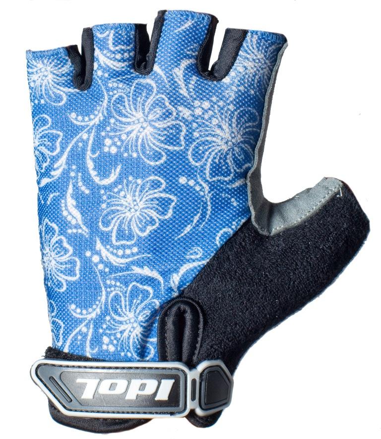 Перчатки велосипедные женские Idol, цвет: черный, синий. 1576. Размер LГризлиЖенские велосипедные перчатки без пальцев Idol предназначены для тех, кто занимается велоспортом, велотуризмом или просто катается на велосипеде. Рабочая поверхность велоперчаток выполнена из высококачественной синтетической кожи серого цвета, а верхняя часть - из лайкры, хорошо отводящей влагу и, благодаря своей упругости, плотно сидящей на руке. На запястье перчатка фиксируется прочной липучкой. Высокое качество, технически совершенные материалы, оригинальный стильный дизайн, функциональность и долговечность выделяют велоперчатки Idol среди прочих.