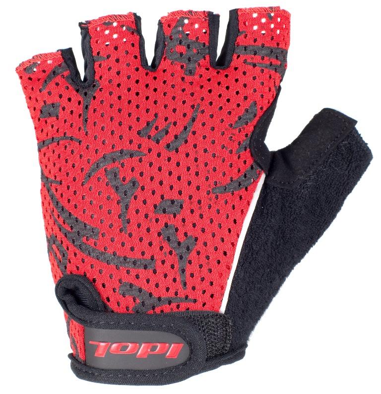 Перчатки велосипедные Idol, цвет: черный, красный. 1592. Размер SZ90 blackУдобные велосипедные перчатки без пальцев Idol предназначены для тех, кто занимается велоспортом, велотуризмом или просто катается на велосипеде. Рабочая поверхность велоперчаток выполнена из плотного сетчатого материала, а верхняя часть - из лайкры, хорошо отводящей влагу и, благодаря своей упругости, плотно сидящей на руке. На запястьях перчатки фиксируются прочными липучками. Для удобства снятия каждая перчатка оснащена двумя небольшими петельками.Высокое качество, технически совершенные материалы, оригинальный стильный дизайн, функциональность и долговечность выделяют велоперчатки Idol среди прочих.