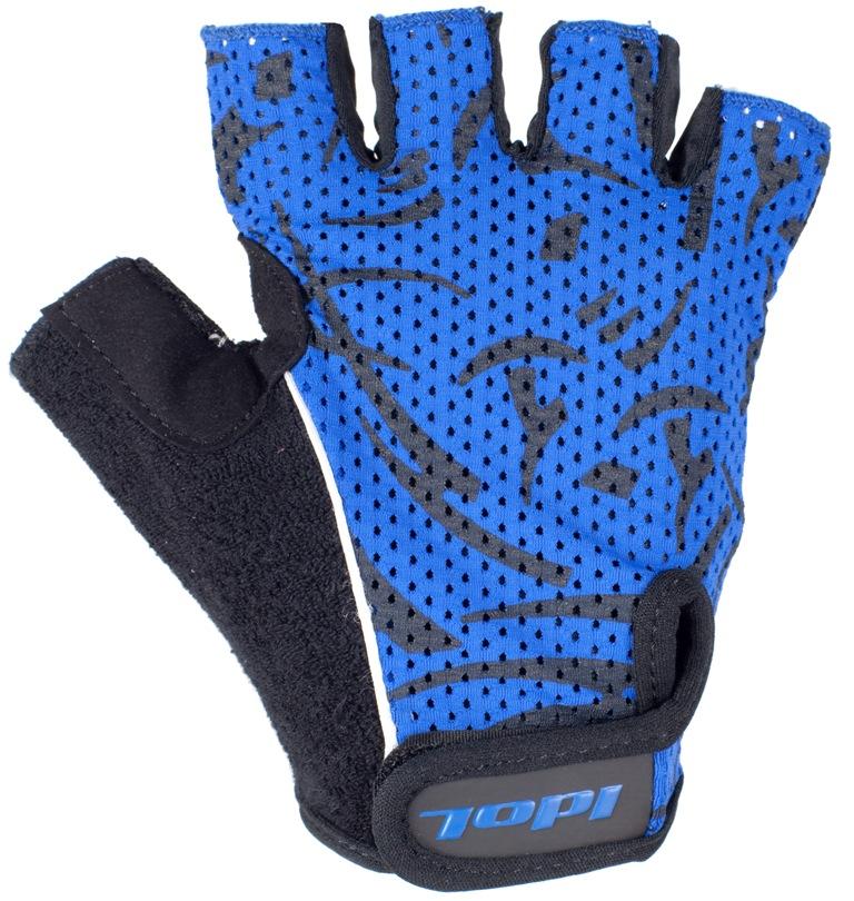Перчатки велосипедные Idol, цвет: черный, синий. 1592. Размер S1592Удобные велосипедные перчатки без пальцев Idol предназначены для тех, кто занимается велоспортом, велотуризмом или просто катается на велосипеде. Рабочая поверхность велоперчаток выполнена из плотного сетчатого материала, а верхняя часть - из лайкры, хорошо отводящей влагу и, благодаря своей упругости, плотно сидящей на руке. На запястьях перчатки фиксируются прочными липучками. Для удобства снятия каждая перчатка оснащена двумя небольшими петельками.Высокое качество, технически совершенные материалы, оригинальный стильный дизайн, функциональность и долговечность выделяют велоперчатки Idol среди прочих.