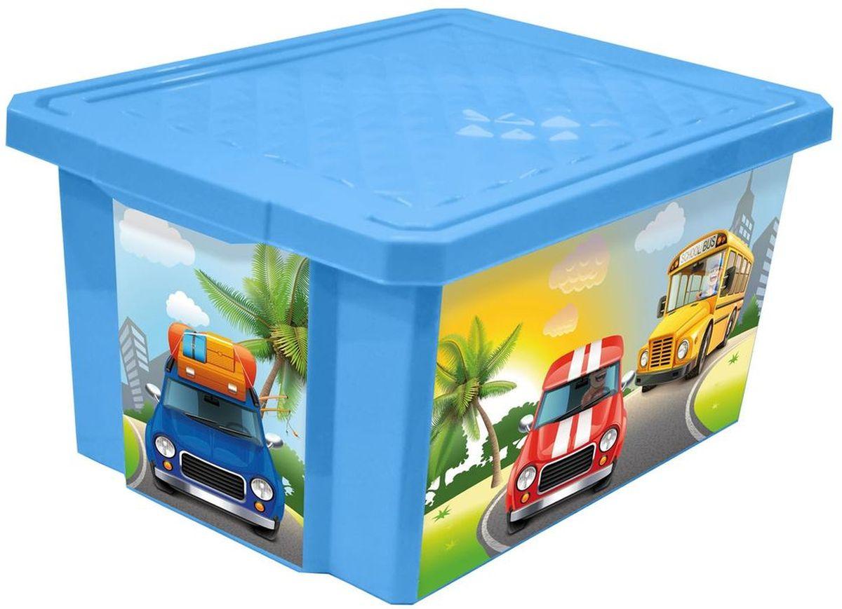 Little Angel Ящик для игрушек X-Box City Cars 17 л цвет голубой
