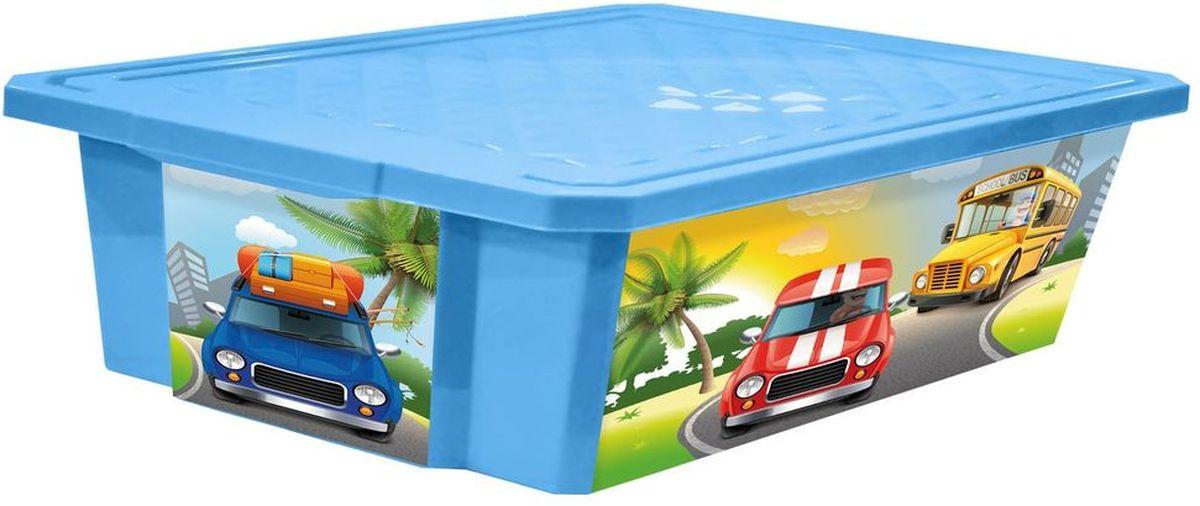 Little Angel Ящик для игрушек X-Box City Cars на колесах 30 л цвет голубой
