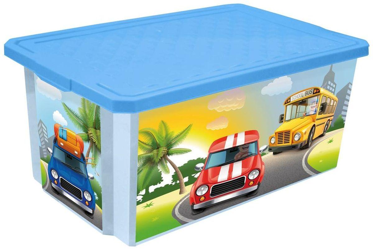 Little Angel Ящик для игрушек X-Box City Cars 12 л цвет голубой