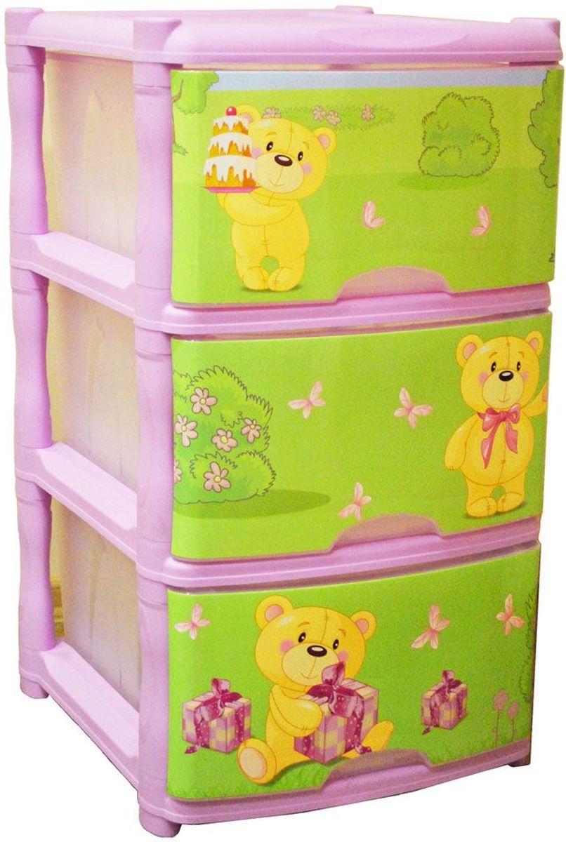 Little Angel Детский комод Bears Tutti 3 ящика цвет лавандовый