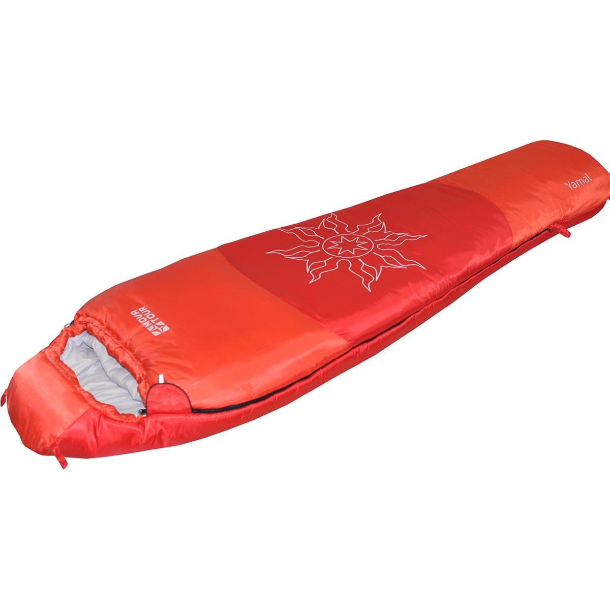 Спальный мешок Nova Tour Ямал -30 V2, цвет: красный, правосторонняя молния95419-001-RightСпальный мешок Nova Tour Ямал -30 V2 - конструкции - кокон и синтетическим наполнителем для использования при очень низких температурах. Утягивающийся капюшон, шейный воротник - сохраняют тепло. Двухзамковая молния позволяет состегнуть два спальных мешка левого и правого исполнения в один двойной. Компрессионный мешок в комплекте.