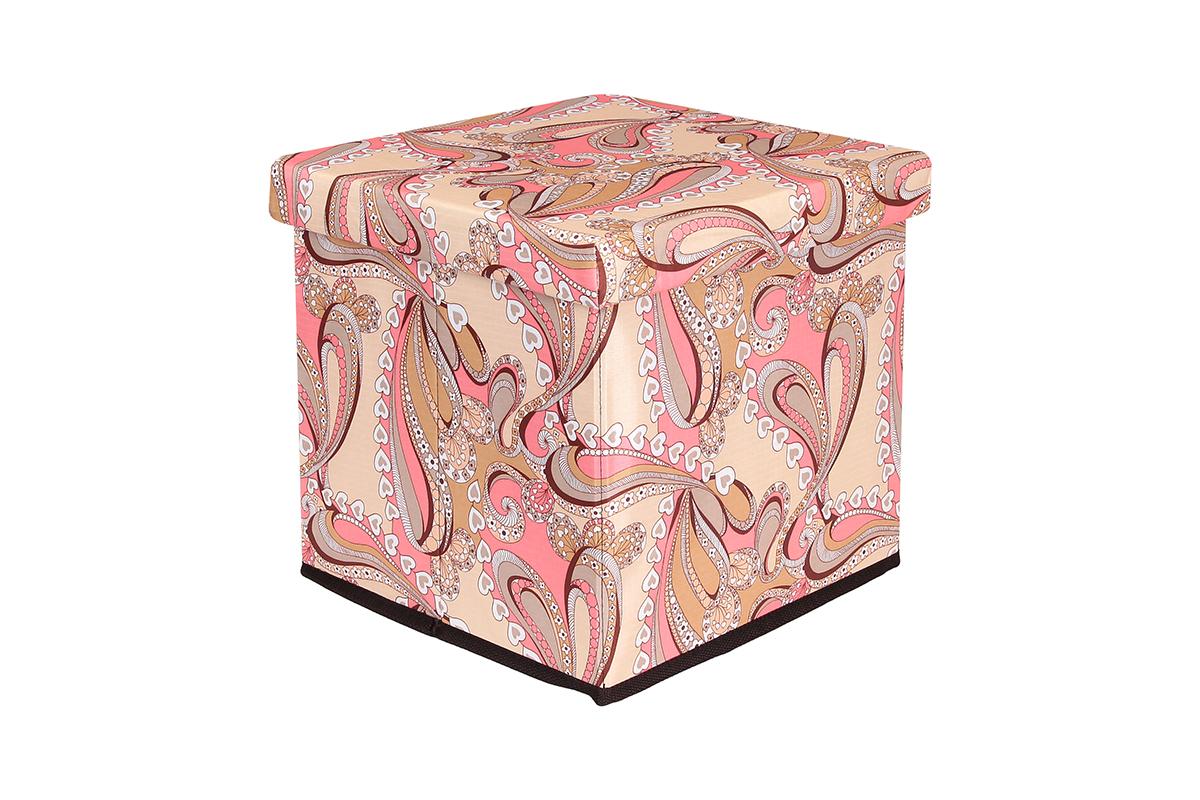 Пуф El Casa Узоры с сердечками, складной, с ящиком для хранения, 33 х 33 х 31 см840039Складной пуф El Casa Узоры с сердечками понравится всем ценителям оригинальных вещей. Изделие выполнено из МДФ и обтянуто высококачественным текстилем. Благодаря удобной конструкции, складывается и раскладывается одним движением. В сложенном виде пуф занимает минимум места, его легко хранить и перевозить. Внутри пуфа имеется одно большое отделение для хранения бытовых предметов, аксессуаров для обуви и многого другого. Стильный оригинальный пуф прекрасно впишется в интерьер прихожей, гостиной или спальни.