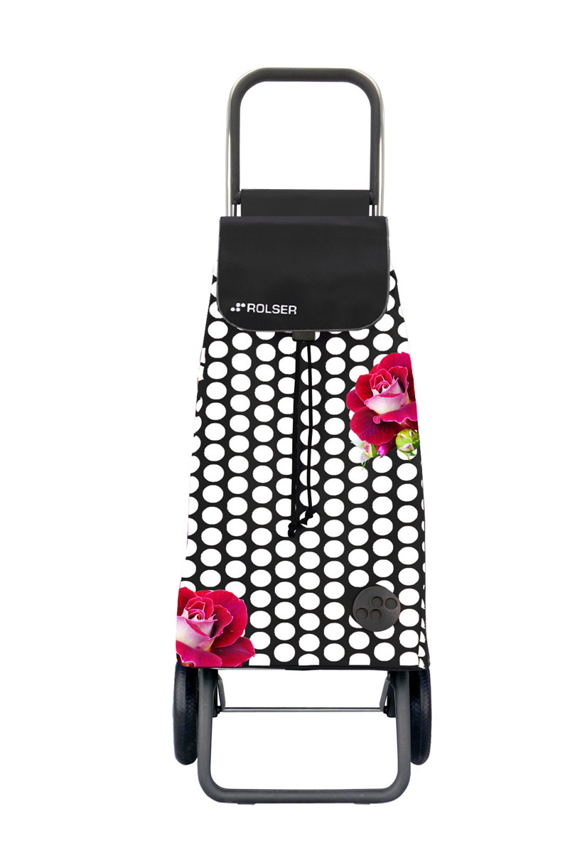 Сумка хозяйственная Rolser, на колесиках, цвет: белый, черный, малиновый, 48 лS03201004Алюминиевая тележка для покупок Rolser с 2 колесами. Быстро трансформируется, два типа сложения: двойное сложение рамы и передней подставки, занимает минимальное место в сложенном виде при хранении. Колеса резина EVA. Ткань полиэстер, влагоустойчивая. Сумка имеет удобное закрытие и легко крепится на раме. Тележка складывается. Объем: 48 л. Диаметр колес: 16,5 см. Рекомендованная нагрузка: 25 кг.Чистка ручная или химчистка.