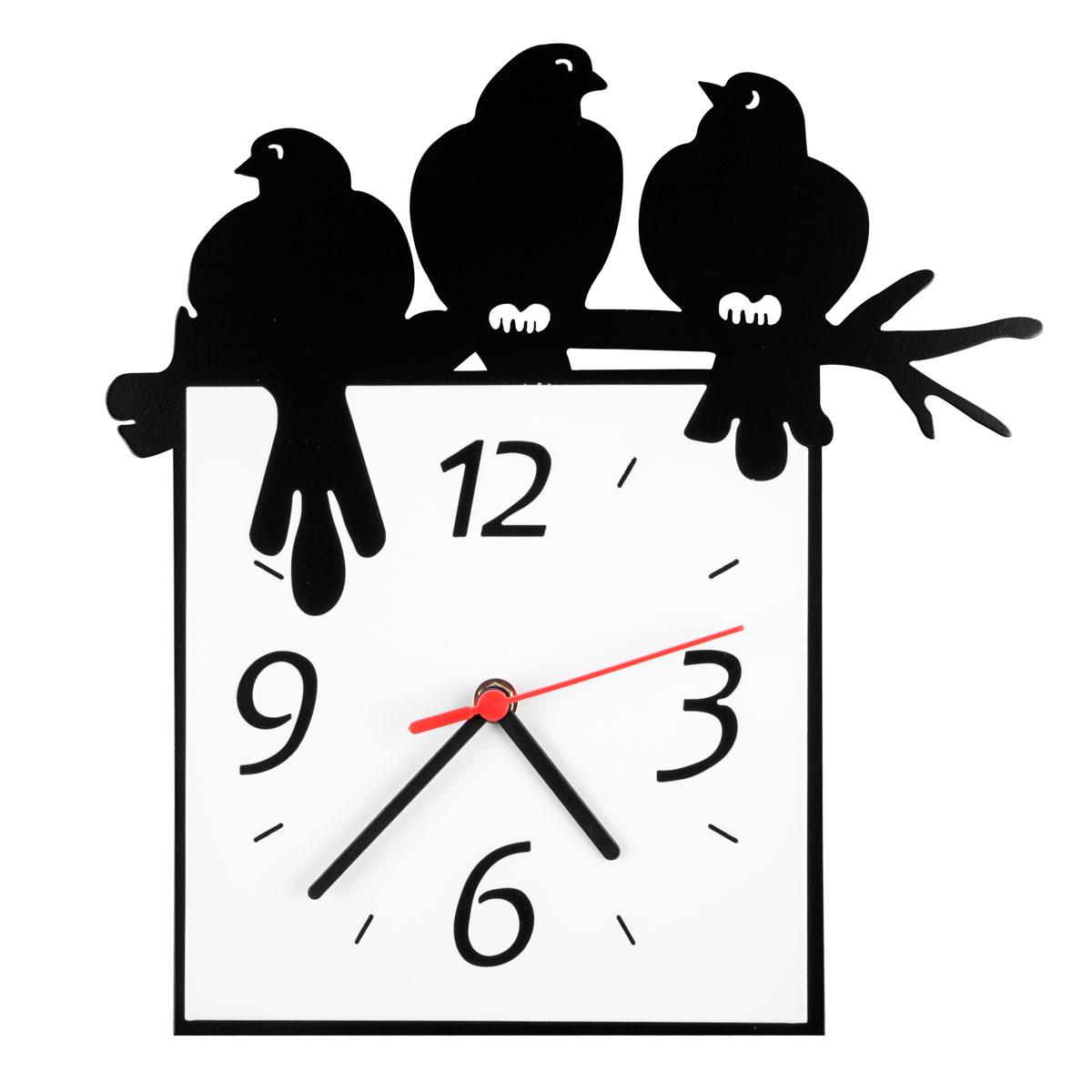 Часы настенные Miolla Птицы на ветке94672Оригинальные настенные часы квадратной формы выполнены из стали. Часы имеют три стрелки - часовую, минутную и секундную и циферблат с цифрами. Необычное дизайнерское решение и качество исполнения придутся по вкусу каждому. Часы работают от 1 батарейки типа АА напряжением 1,5 В.