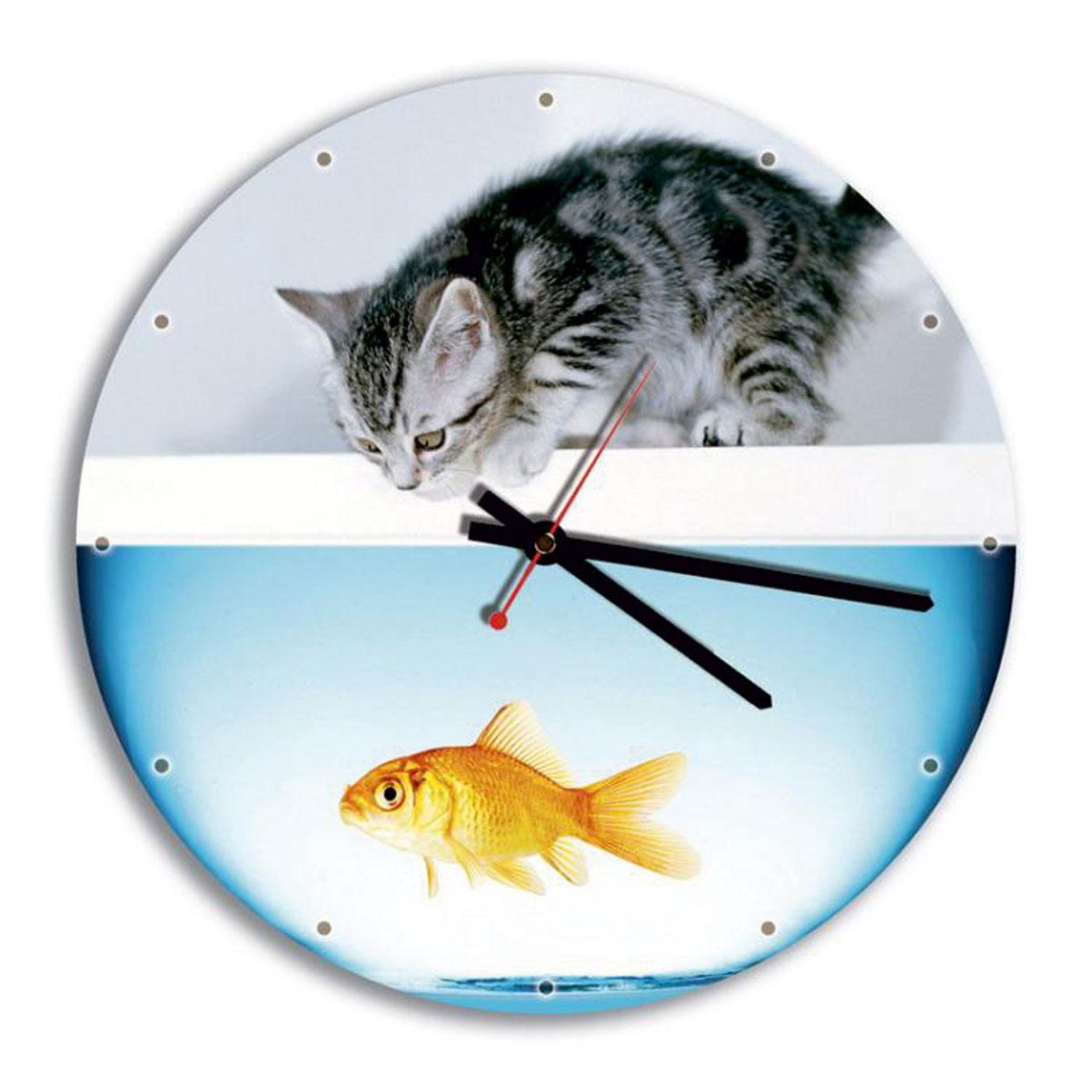 Часы настенные Miolla Аквариум94672Оригинальные настенные часы круглой формы Miolla Аквариум выполнены из закаленного стекла. Часы имеют три стрелки - часовую, минутную и секундную. Необычное дизайнерское решение и качество исполнения придутся по вкусу каждому.Оформите свой дом таким интерьерным аксессуаром или преподнесите его в качестве презента друзьям, и они оценят ваш оригинальный вкус и неординарность подарка. Часы работают от 1 батарейки типа АА напряжением 1,5 В.Диаметр часов: 28 см.