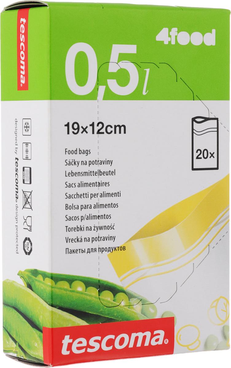 Пакеты для хранения продуктов Tescoma 4Food, 12 х 19 см, 20 шт4630003364517Пакеты для хранения продуктов Tescoma 4Food, изготовленные из высококачественного прочного пластика, предназначены для хранения продуктов в холодильнике или морозильной камере, а также для использования в приоткрытом виде в микроволновой печи. Специальная застежка делает пакеты абсолютно герметичными, теперь вы сможете забыть о неприятном запахе в холодильнике, а все содержимое будет храниться гораздо дольше. На самих пакетах можно сделать надпись маркером, которая легко стирается влажной губкой.Пакеты для хранения продуктов Tescoma 4Food - удобный и практичный вид современной упаковки, предназначенный для хранения продуктов.Размер пакетов: 12 х 19 см.