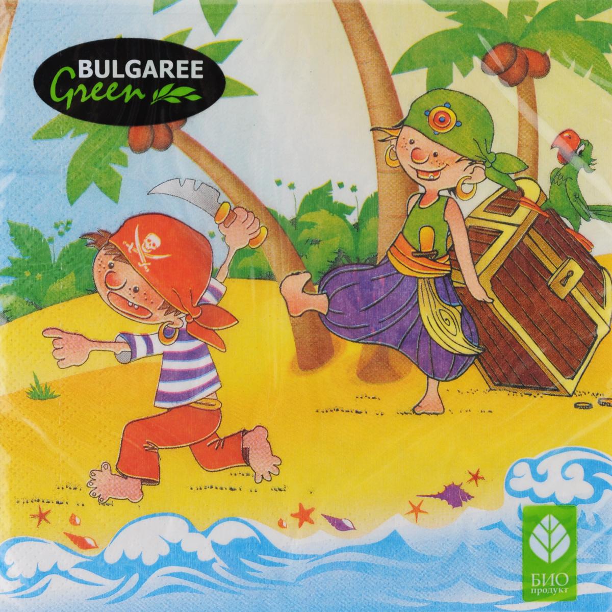 Салфетки бумажные Bulgaree Green Пираты, трехслойные, 33 х 33 см, 20 шт19201Декоративные трехслойные салфетки Bulgaree Green Пиратывыполнены из 100%целлюлозы европейского качества и оформлены ярким рисунком. Изделиястанут отличнымдополнением любого праздничного стола. Они отличаются необычноймягкостью,прочностью и оригинальностью.Размер салфеток в развернутом виде: 33 х 33 см.
