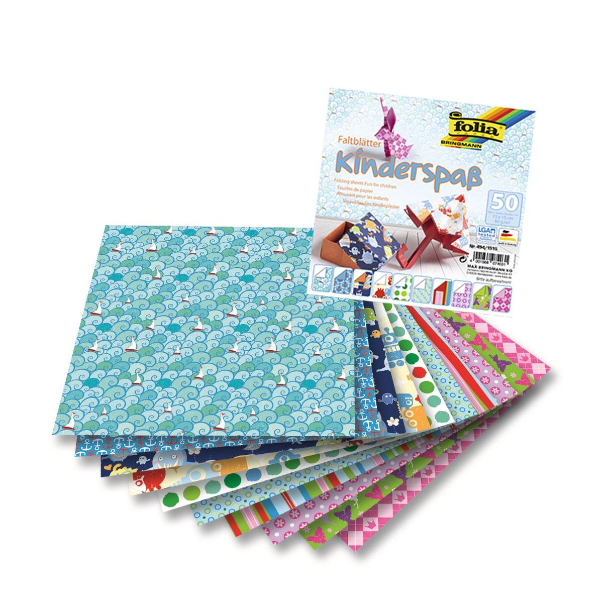 Бумага для оригами FoliaKids, 15 х 15 см, 50 листовNN-612-LS-PLКрасочные мотивы коллекции KIDS позволяют создавать оригинальные стильные поделки в технике оригами. В наборе 50 листов; 5 различных мотивов.