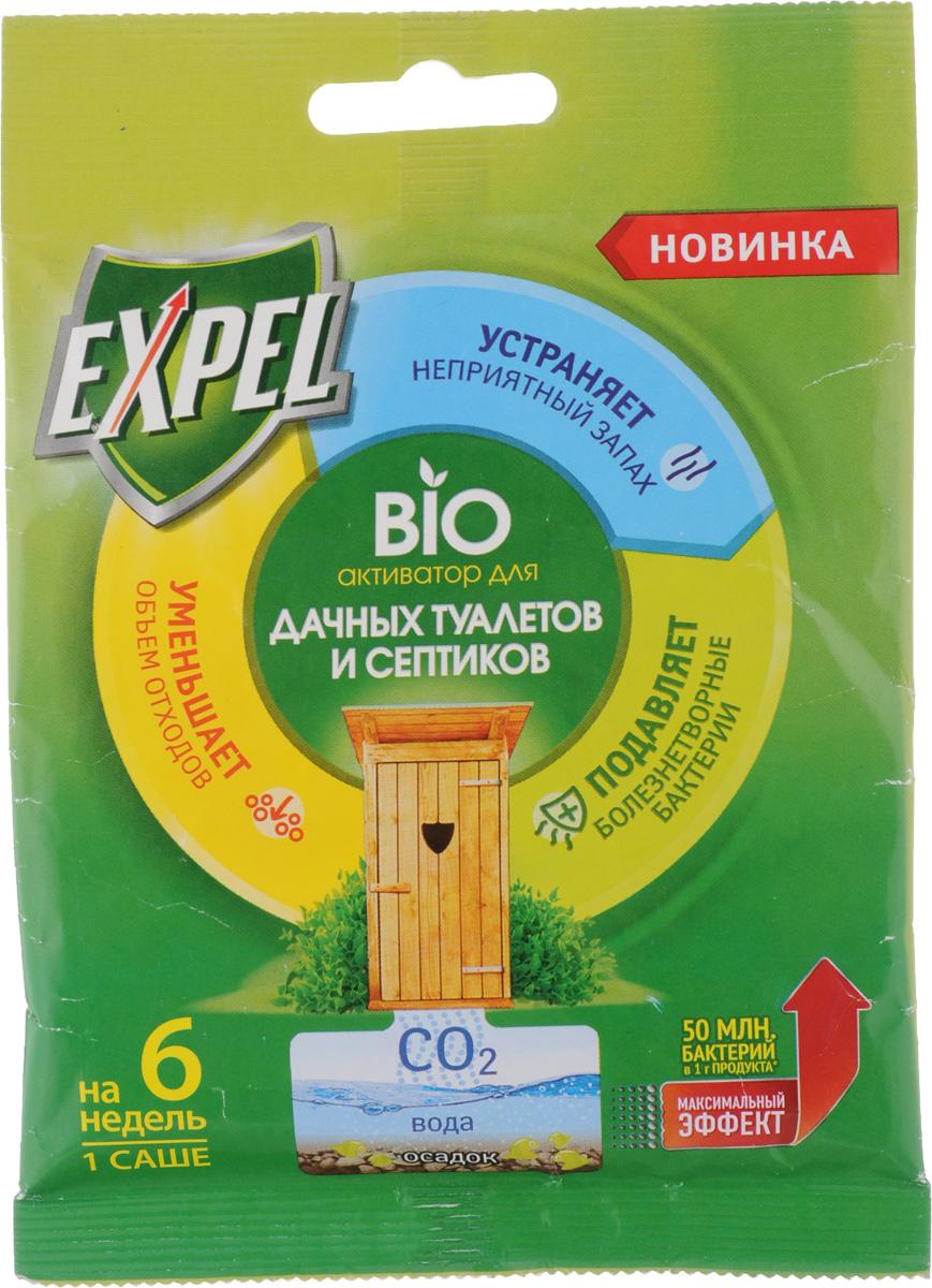 Bio активатор Expel для дачных туалетов и септиков, 75 гK100Bio активатор Expel предназначен для ускоренного разложения органических отходов и устранения неприятных запахов в дачных туалетах и септиках. Bio активатор содержит концентрированные культуры бактерий, которые разлагают фекальные массы на воду, углекислый газ и соли. Средство также уменьшает объем содержимогоосадка, подавляет рост болезнетворных микробов. Способ применения: Для септиков - высыпать содержимое в унитаз и смыть воду.Для туалетов с выгребной ямой - высыпать содержимое в яму. Bio активатор эффективно работает только в жидкой среде. Если яма обезвожена, необходимо добавить воды для покрытия содержимого. Не допускать высыхания ямы.Состав: = 30% носитель.Внимание!Bio активатор действует в течение 6 недель, максимальная эффективность наблюдается в первые 3 недели. Хлорсодержащие и дезинфицирующие средства могут снижать активность бактерий. Для усиления действия допускается увеличение дозировки. Максимальный эффект достигается при регулярном применении.