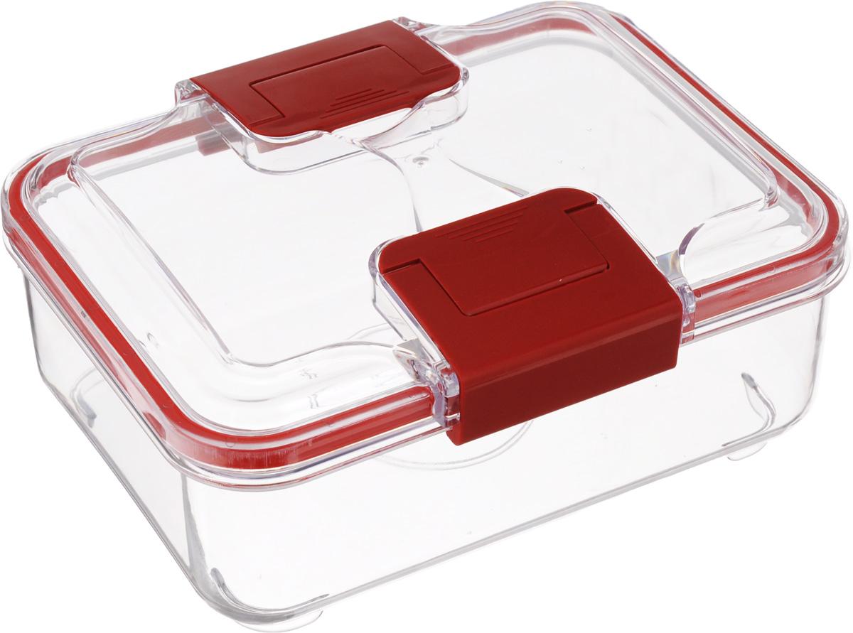 Контейнер Status, цвет: прозрачный, красный, 1 лFA-5125 WhiteПрямоугольный пищевой контейнер Status изготовлен из высококачественного пищевого пластика. Контейнер безопасен дляздоровья, не содержит BPA. На крышке имеется прорезиненный обод, который способствует более герметичному закрыванию, в связи с чем продукты дольше сохраняют свои свойства.Прозрачные стенки позволяют видеть содержимое. Контейнер закрывается при помощи двух защелок.Можно мыть в посудомоечной машине.Контейнер подходит для использования вморозильной камере и СВЧ.