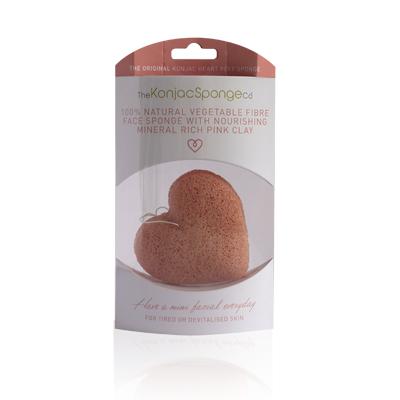 The Konjac Sponge Co Спонж для умывания лица Premium Heart Puff with French Pink Clay (премиум-упаковка)MT 1751Полностью натуральный спонж из растительной клетчатки для умывания лица (с добавлением французской розовой глины для ухода за чувствительной кожей). Не содержит химикатов, красителей, аллергенов. На 100% биоразлагаемый. Используется во влажном состоянии. Способ применения: Перед употреблением тщательно промойте и дайте спонжу Конняку впитать воду. Аккуратно отожмите спонж от лишней воды и нежно очищайте кожу. Массируйте круговыми движениями. Спонж Конняку нежно отшелушивает кожу, очищает и освежает ее. Нет необходимости использовать очищающие средства, но при желании можете добавить немного любимого средства. Спонж Конняку усиливает эффект очищающих средств. Состав: Растительная клетчатка, французская розовая глина.