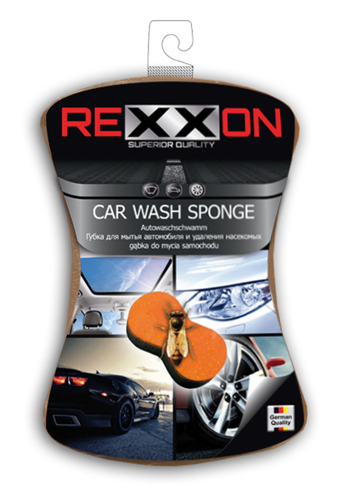 Губка для автомобиля Rexxon, двухслойная, 190 х 150 х 60 ммPM 0256_зеленыйГубка для автомобиля два в одном. Модель с жестким пенополиуретановым слоем для устранения наиболее cтойких загрязнений и насекомых.