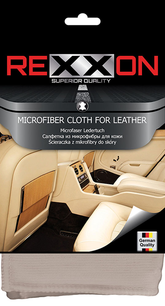 Салфетка Rexxon для кожаных поверхностей автомобиля, 35 х 35 смRC-100BWCСалфетка из микрофибры для кожаных поверхностей автомобиля. Цветная компактная упаковка.
