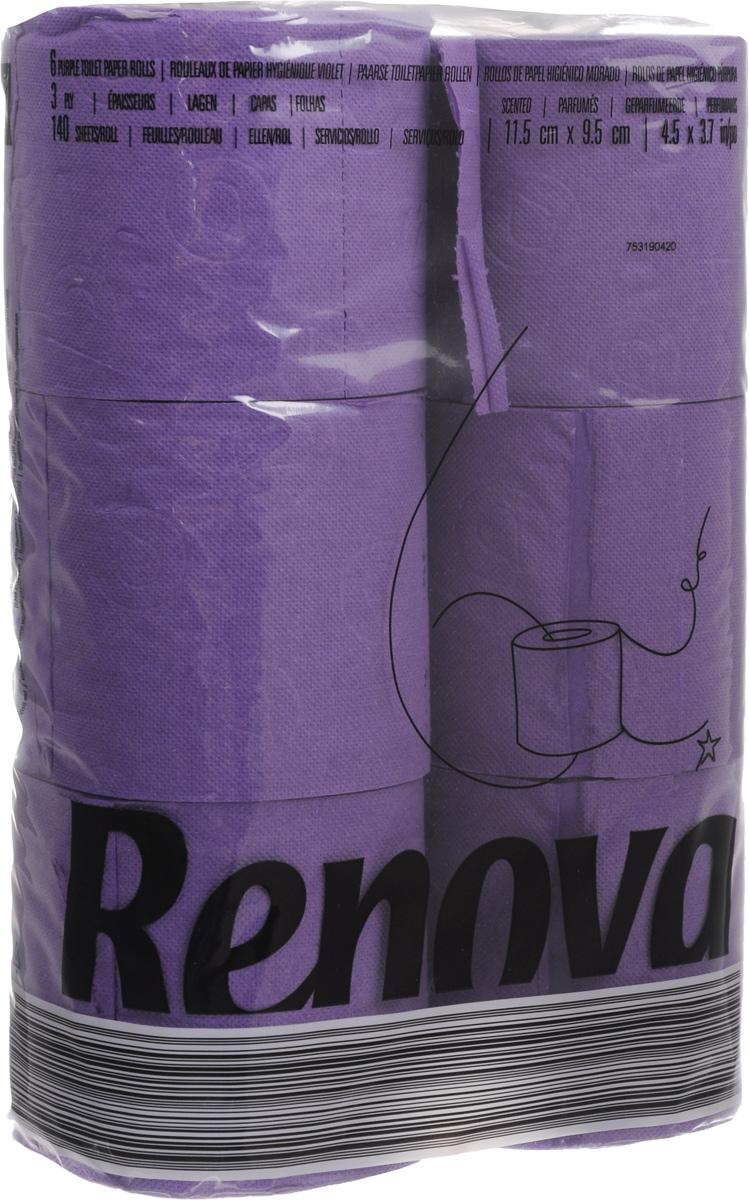 Туалетная бумага Renova Color, трехслойная, ароматизированная, цвет: пурпурный, 6 рулонов15943Туалетная бумага Renova Color изготовлена по новейшей технологии из 100% ароматизированной целлюлозы с лосьоном, благодаря чему она имеет тонкий аромат, очень мягкая, нежная, но в тоже время прочная. Перфорация надежно скрепляет слои бумаги. Туалетная бумага Renova Color сочетает в себе простоту и оригинальность. Состав: 100% ароматизированная целлюлоза. Количество листов: 140 шт.Количество слоев: 3.Размер листа: 11,5 х 9,7 см.Количество рулонов: 6 шт.