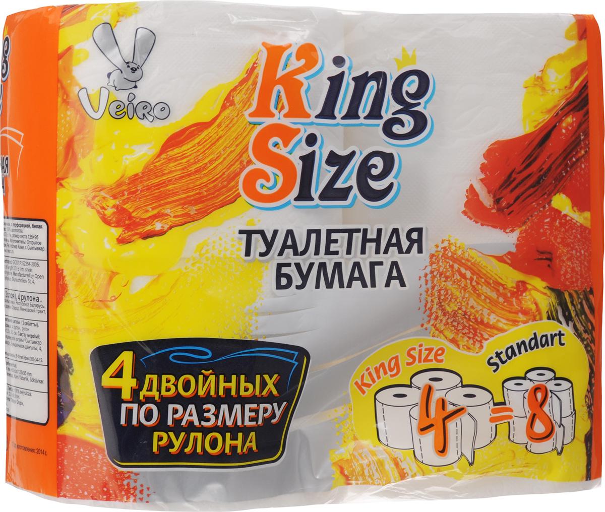 Бумага туалетная Veiro King Size, двухслойная, 4 рулона391602Туалетная бумага Veiro King Size, выполненная из натуральной целлюлозы, обеспечивает превосходный комфорт и ощущение чистоты и свежести. Необыкновенно мягкая, но в тоже время прочная, бумага не расслаивается и отрывается строго по линии перфорации, не вызывает аллергии и раздражения. Двухслойные листы имеют рисунок с перфорацией.Количество слоев: 2. Размер листа: 12,5 х 9,5 см. Длина намотки: 37,5 м. Состав: 100% целлюлоза.Уважаемые клиенты!Обращаем ваше внимание на возможные изменения в дизайне упаковки. Качественные характеристики товара остаются неизменными. Поставка осуществляется в зависимости от наличия на складе.