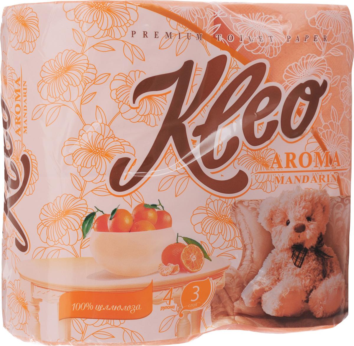 Туалетная бумагаKleo Aroma. Мандарин, ароматизированная, трехслойная, 4 рулона010-01199-23Ароматизированная туалетная бумага Kleo Aroma. Mandarin, выполненная из натуральной целлюлозы и обладает приятным ароматом цитруса. Трехслойная туалетная бумага мягкая, нежная, но в тоже время прочная, с отрывом по линии перфорации. Листы имеют рисунок с тиснением.Количество листов: 168 шт. Количество слоев: 3.Размер листа: 12,5 х 9,6 см. Состав: 100% целлюлоза.