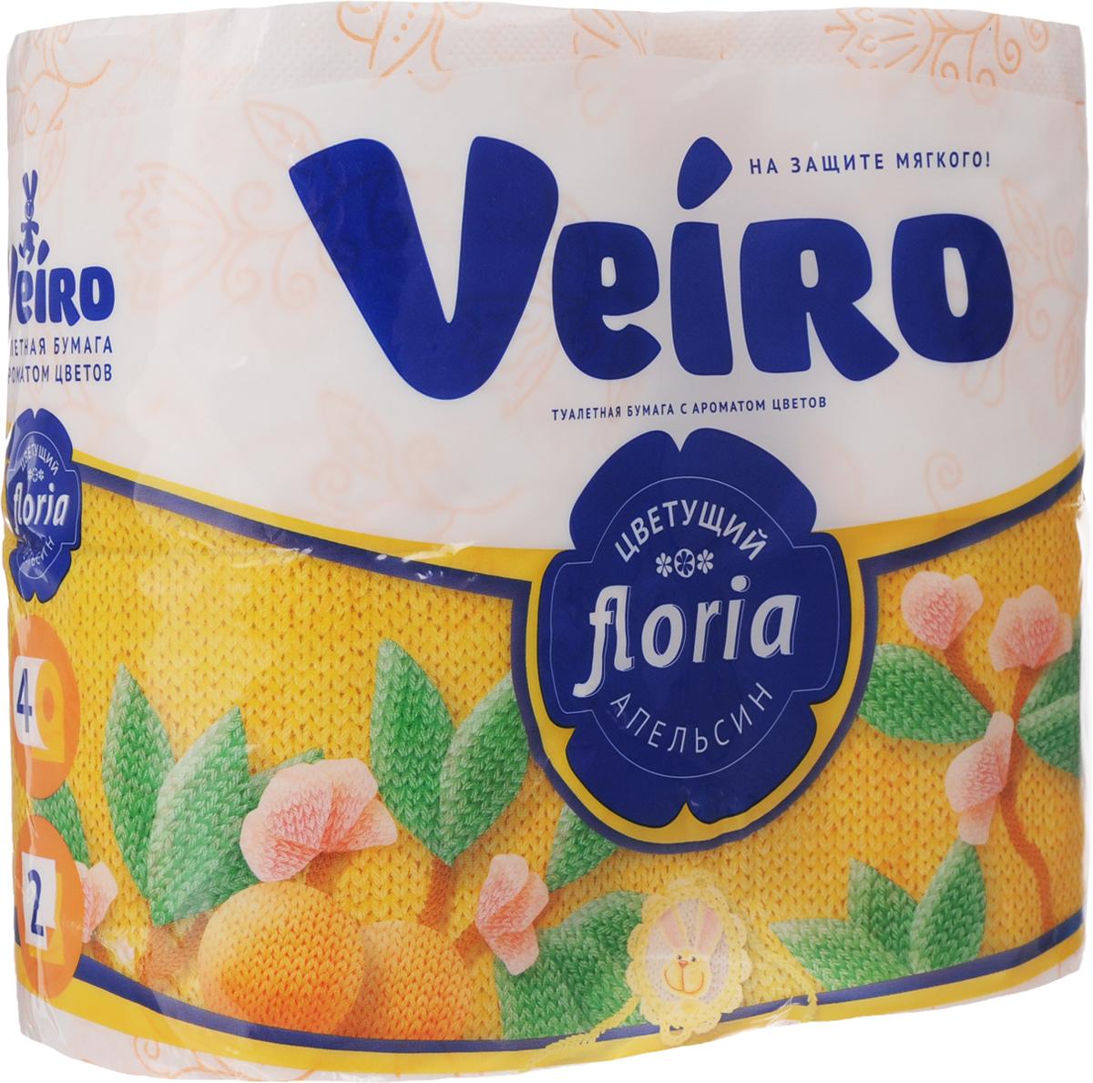 Бумага туалетная Veiro Floria. Цветущий апельсин, ароматизированная, двухслойная, 4 рулона391602Ароматизированная туалетная бумага Veiro Floria. Цветущий апельсин, выполненная из натуральной целлюлозы и обладает приятным ароматом цитруса. Двухслойная туалетная бумага мягкая, нежная, но в тоже время прочная, с отрывом по линии перфорации. Листы имеют рисунок с тиснением.Длина рулона: 21,9 м. Количество слоев: 2.Размер листа: 12,5 х 9,6 см. Состав: 100% целлюлоза.