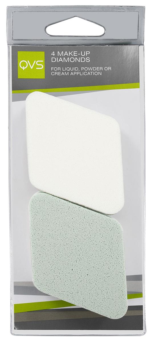 QVS Спонжи для макияжа в форме ромба; 4 шт1057V15647Спонжи для макияжа в форме ромба 4 шт. идеально подходят для нанесения и растушевки макияжа. Их специальная ромбовидная форма обеспечивает максимальное покрытие. Способ применения: Легкими касаниями нанесите тональную основу на нос, лоб, щеки, подбородок. Мягко и равномерно растушуйте косметическое средство от центра к периферии лица. Закругленные кончики позволяют без труда нанести макияж на самых труднодоступных участках, например, вокруг носа и глаз.