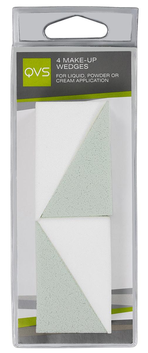 QVS Спонжи для макияжа клиновидные; 4 шт90650Наши косметические клиновидные спонжи идеально подходят для нанесения и растушевки макияжа. Их специальная клиновидная форма позволяет достичь самые труднодоступные места. Способ применения: Легкими касаниями нанесите тональную основу на лоб, нос, щеки и подбородок. Мягко и равномерно растушуйте от центра к периферии лица. Острые кончики позволяют без труда нанести макияж на самых труднодоступных участках, например вокруг носа и глаз.