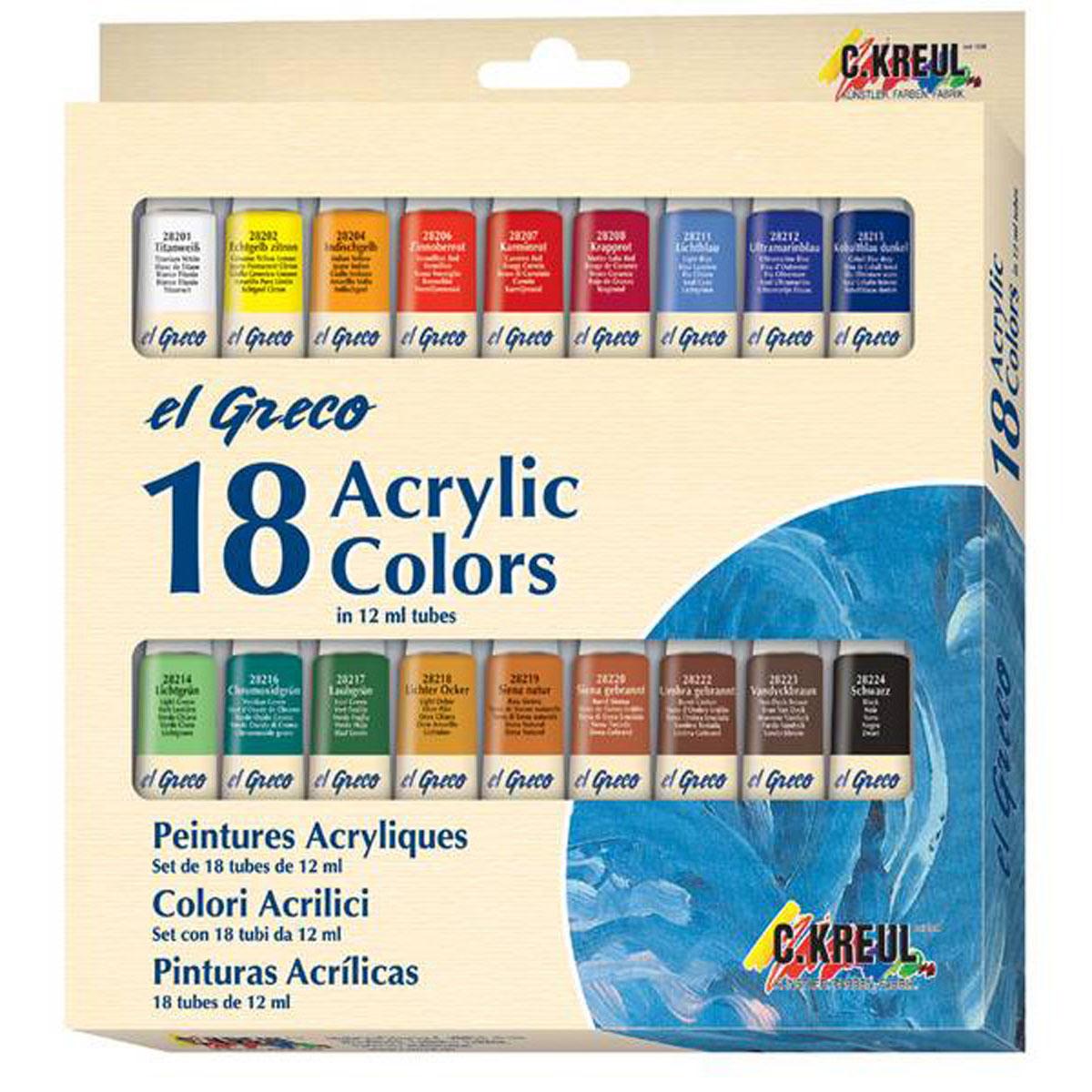 Краски акриловые Kreul El Greco, 18 цветов540205Набор художественных акриловых красок для учащихся и профессионалов. На водной основе для таких поверхностей, как холст, картон, бумага, камень, металл, кожа и многих других. Краски быстро сохнут, создавая при этом глянцевую поверхность, разбавляются водой, хорошо смешиваются друг с другом. Краски обладают яркими, светостойкими и укрывистыми цветами, могут быть как покрывными, так и прозрачными, наносятся кистью или мастихином, после высыхания поверхность становится водостойкой и эластичной. Состав: 18 акриловых красок в алюминиевых тубах по 12 мл