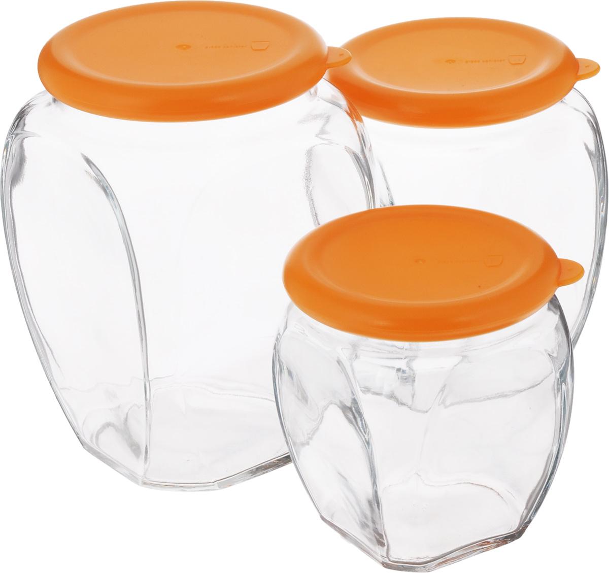 Набор контейнеров для сыпучих продуктов Glasslock, 3 шт. IG-674SC-FD421004Набор Glasslock состоит из трех контейнеров для сыпучих продуктов. Изделия выполнены из экологически чистого закаленного ударопрочного стекла и оснащены пластиковыми крышками. Контейнеры удобно ставятся друг на друга для экономии места на кухне. Изделия плотно и герметично закрываются крышками, что позволяет продуктам дольше оставаться свежими, сохранять аромат и вкус. Благодаря прозрачным стенкам, можно видеть содержимое. Размер подходит для хранения в дверце холодильника. Такие контейнеры идеально подходят для хранения различных сыпучих продуктов: орехов, печенья, круп, хлопьев, варенья и т.д. Можно мыть в посудомоечной машине. Подходят для хранения пищи в морозильнике и холодильнике. Не использовать в микроволновой печи и духовке.Комплектация: 3 шт. Объем контейнеров: 350 мл; 500 мл; 815 мл. Диаметр контейнеров (по верхнему краю): 7,5 см; 7,5 см; 8,5 см. Высота контейнеров (с учетом крышки): 9,5 см; 12 см; 14,5 см.