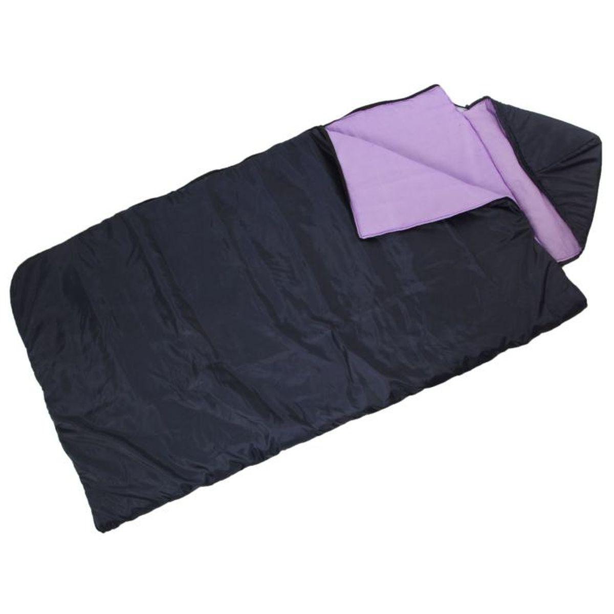 Спальный мешок Onlitop Престиж, увеличенный, цвет: черный, фиолетовый, правосторонняя молния. 13440281344028Комфортный, просторный и очень теплый 3-х сезонный спальник предназначен для походов и для отдыха на природе не только в летнее время, но и в прохладные дни весенне-осеннего периода. В теплое время спальный мешок можно использовать как одеяло (в том числе и дома).