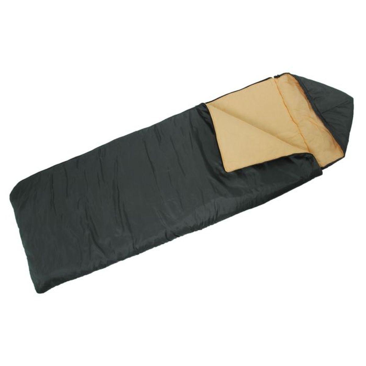Спальный мешок Onlitop Престиж, цвет: черный, бежевый, правосторонняя молния. 1344029010-01199-23Комфортный, просторный и очень теплый 3-х сезонный спальник предназначен для походов и для отдыха на природе не только в летнее время, но и в прохладные дни весенне-осеннего периода. В теплое время спальный мешок можно использовать как одеяло (в том числе и дома).
