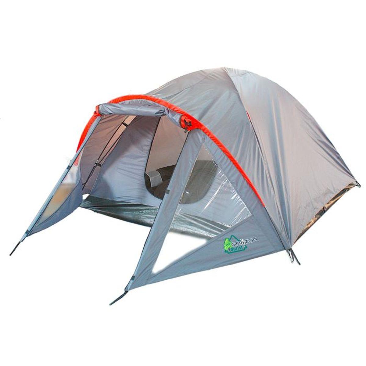 Палатка туристическая Onlitop DISCOVERY 2, цвет: серыйперфорационные unisexЕсли вы заядлый турист или просто любитель природы, вы хоть раз задумывались о ночёвке на свежем воздухе. Чтобы провести это время с комфортом, вам понадобится отличная палатка, такая как DISCOVERY. Она обеспечит безопасный досуг и защитит от непогоды и насекомых. Дополнительным преимуществом данной модели является тамбур, с помощью которого вы можете сэкономить пространство и разместить вещи. Ткань рипстоп гарантирует длительную эксплуатацию палатки за счёт высокой прочности материала.