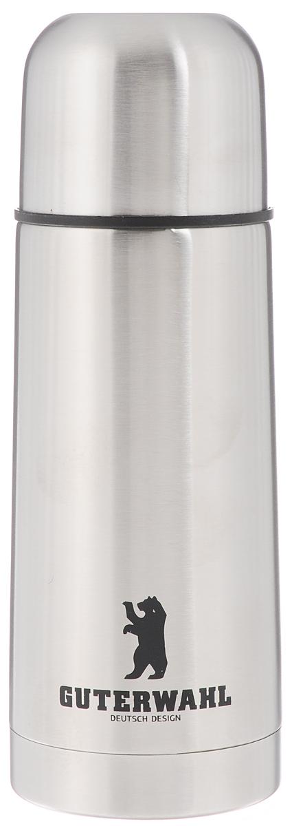 Термос Guterwahl, 350 мл. ZC-5026-350VT-1520(SR)Термос Guterwahl изготовлен из высококачественной нержавеющей стали с матовой полировкой. Двойные стенки обеспечивают долгое сохранение температуры напитка. Подходит для горячих и холодных напитков. Благодаря плотно закручивающейся пробке внутри создается абсолютная герметичность, что предотвращает проливание напитков. Верхнюю крышку можно использовать в качестве чаши для напитка.Стильный функциональный термос будет незаменим в дороге, на пикнике. Его можно взять с собой куда угодно, и вы всегда сможете наслаждаться горячим домашним напитком. Не рекомендуется мыть в посудомоечной машине.Высота термоса (с учетом крышки): 19,5 см. Диаметр основания: 6,5 см. Диаметр горлышка: 4,5 см.