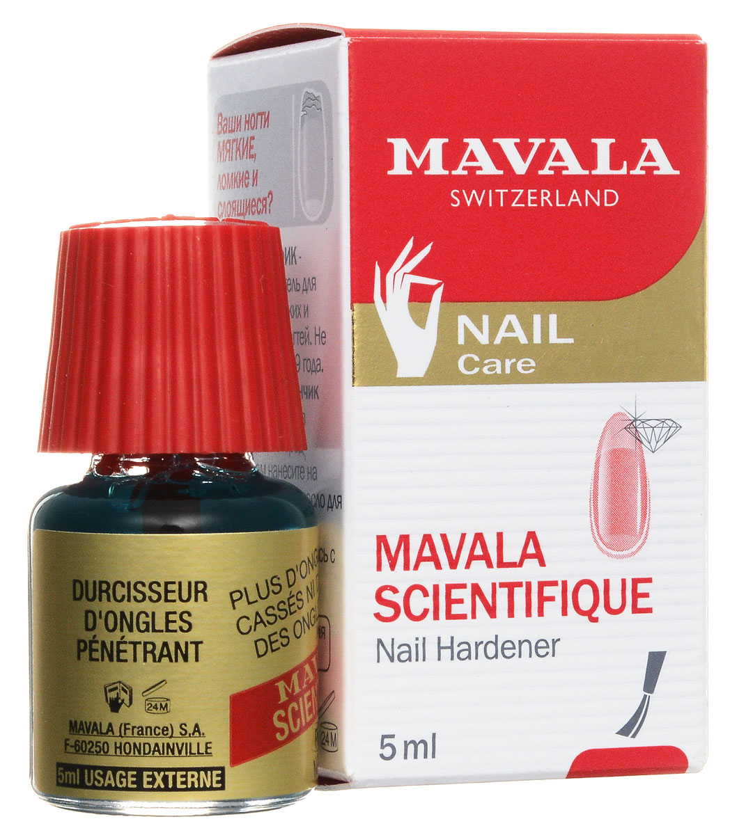 Mavala Средство для ногтей Scientifique, укрепляющее, с проникающим эффектом, 5 мл14-098Средство для ногтей Mavala Scientifique, с проникающим эффектом, оказывает лечебный проникающий эффект за счет склеивания слоев ногтевой пластины. Эффективно укрепляет мягкие, слоящиеся ногти, предотвращает расслаивание, делает ногтевую пластину твердой, восстанавливает нормальный рост ногтя. Применяется 1 или 2 раза в неделю. Флакон объемом 5 мл рассчитан на 1 год. Программа применения: 1 раз в неделю на протяжении первого месяца. 1 раз в две недели на протяжении второго месяца. 1-2 раза в месяц для профилактики или по необходимости.Не рекомендовано наносить под ноготь, на кутикулу или на кожу, чтобы избежать затвердения эпидермиса.Товар сертифицирован.