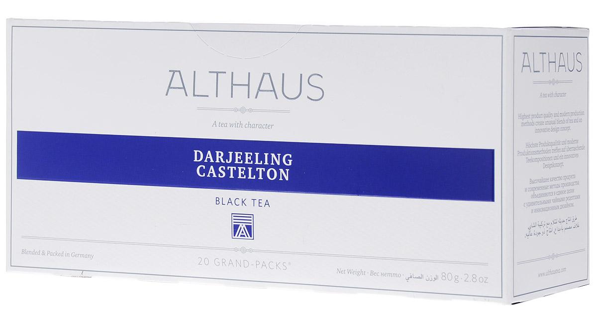 Althaus Grand Pack Darjeeling Castleton черный чай в пакетиках, 20 шт4630006820294Althaus Darjeeling Castleton (Даржилинг Кастелтон) — высокогорный черный индийский чай, собранный на одной из самых знаменитых плантаций. Для этого сорта характерен мягкий вкус с легким ореховым оттенком и нежным ароматом. Второй сбор чая Даржилинг собирают с конца мая до начала июля. Он обладает более крепким и насыщенным букетом. Даржилинг Кастелтон — дневной чай, он станет прекрасным дополнением к обеду.