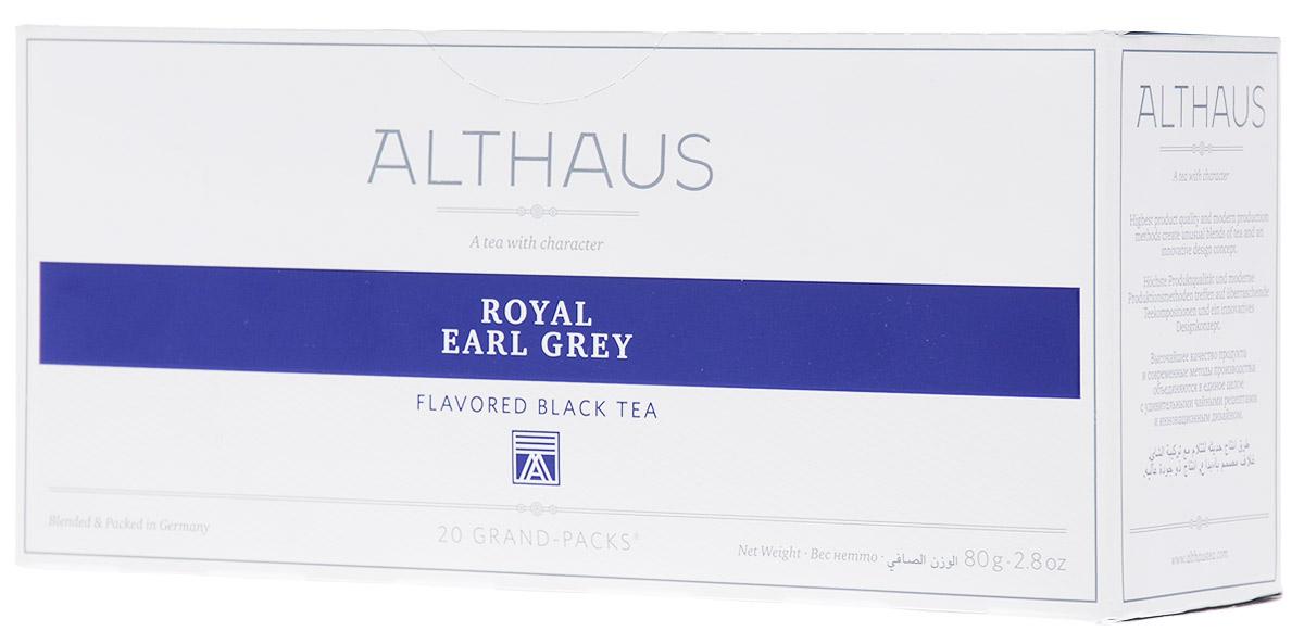Althaus Grand Pack Royal Earl Grey ароматизированный чай в пакетиках, 20 шт101246Althaus Royal Earl Grey (Ройал Эрл Грэй) — это купаж из лучших индийских и цейлонских сортов черного чая, дающий насыщенный классический вкус с элегантными цитрусовыми нотками бергамота. Слава традиционного английского черного чая с легким, пряно-бальзамическим ароматом бергамота давно пересекла британские границы и распространилась по всему миру.