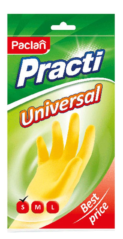 Перчатки резиновые Paclan Practi Universal. Размер SDW90Резиновые перчатки помогут вам справиться с проведением хозяйственных работ и защитят ваши руки от воздействия вредных химических веществ в составе чистящих средств.