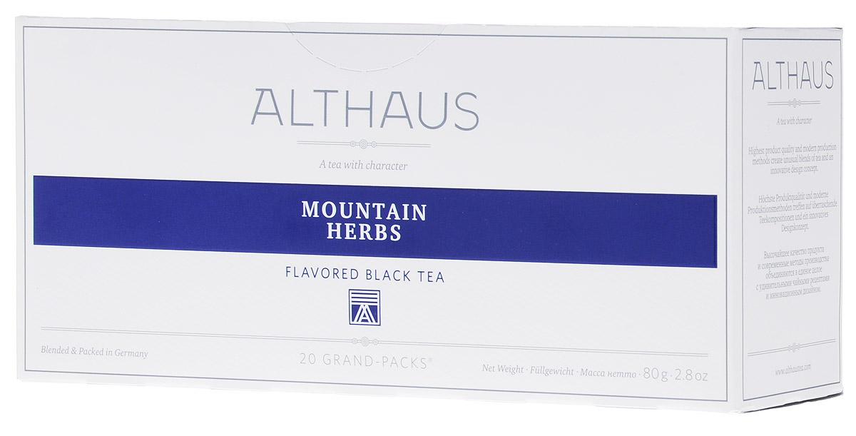 Althaus Grand Pack Mountain Herbs травяной чай в пакетиках, 20 шт0937-10_новый дизайнAlthaus Grand Pack Mountain Herbs (Горные травы) - купаж лучших сортов черного чая с плантаций Индии и Цейлона, дополненный бережно высушенными листочками горного чабреца.Grand Pack - современная концепция заваривания листового чая в запечатанных чайных фильтрах большего размера. Листья при заварке полностью раскрывают свой вкус и аромат.