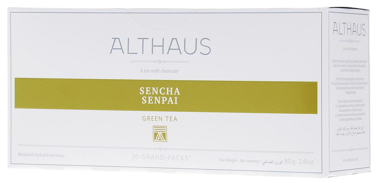 Althaus Grand Pack Sencha Senpai зеленый чай в пакетиках, 20 шт4607003046880Althaus Sencha Senpai (Сенча Сенпай) — классический японский зеленый чай из отборных листьев. Это самый популярный вид чая в Японии. Для изготовления этого сорта используется особая технология обработки листа на пару, характерная только для Японии. Сенча Сенпай обладает насыщенным вкусом с острым ароматом, мягкой горчинкой и легкой сладковатой нотой.