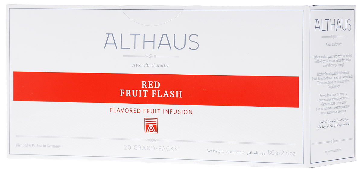 Althaus Grand Pack Red Fruit Flash травяной чай в пакетиках, 20 штTTL-BIN-201Althaus Red Fruit Flash (Ред Фрут Флэш) - уникальный фруктовый купаж с ярким ягодным ароматом домашнего варенья и приятной кислинкой рубинового каркаде.Grand Pack - современная концепция заваривания листового чая в запечатанных чайных фильтрах большего размера. Листья при заварке полностью раскрывают свой вкус и аромат.