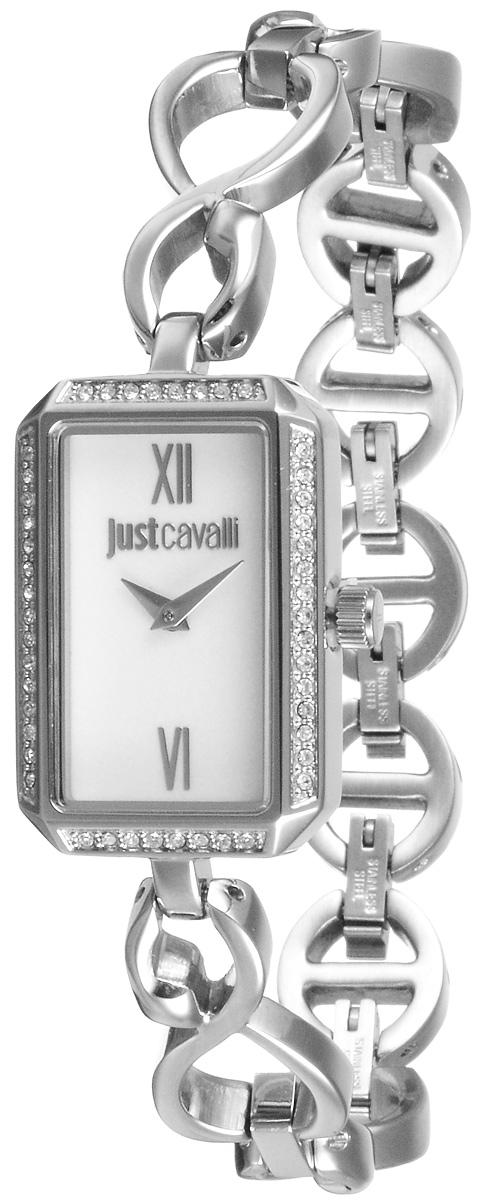Часы женские наручные Just Cavalli, цвет: серебристый. R7253150504BM8434-58AEНаручные часы Just Cavalli созданы для современных девушек, которые не желают потерять свою индивидуальность в городской суете. Корпус, выполненный из нержавеющей стали, инкрустирован стразами и защищен минеральным стеклом. Стальной браслет имеет имеет складной замок. Изделие оснащено 5 съемными звеньями, благодаря которым, браслет можно регулировать под нужный обхват запястья. Циферблат прямоугольной формы оснащен римскими цифрами, а также имеет две стрелки - часовую и минутную.Изделие укомплектовано в фирменный футляр с названием бренда. Стильные часы подчеркнут изящество женской руки и отменное чувство стиля их обладательницы.
