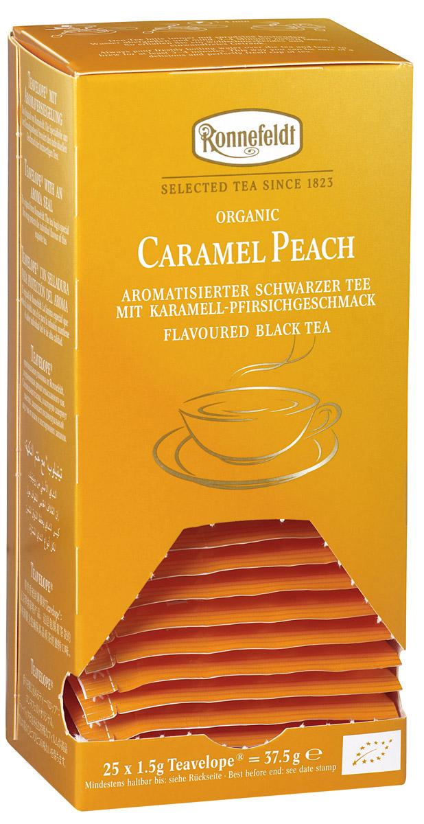 Ronnefeldt черный чай со вкусом карамели и персика в пакетиках, 25 шт101246Изыскано-сладкие нотки карамели подчеркивают насыщенный вкус персика в пикантном черном чае. Чай из линии Teavelope произведен традиционным способом. Качество трав, фруктов и других ингредиентов отвечает самым высоким требованиям. А особая защитная упаковка сохраняет чай таким, каким его создала природа: ароматным, свежим и неповторимым.